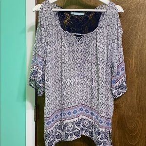 Maurices Lace Up Blouse with Peek-a-boo sleeves